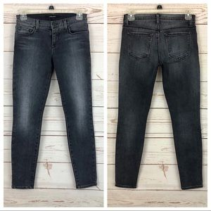 J Brand Black Grey Faded Skinny Ankle Jeans